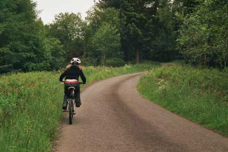 Easy cycling through woodland on country lanes